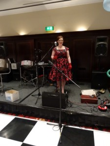 Laura Stimpson singing at the Beyond Cancer Ball, Leeds